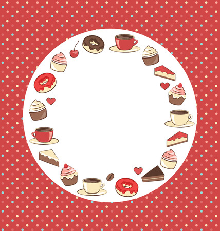 Sweets circle frame on red background in dots photo