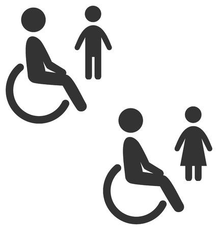 mujer hombre: Discapacidad hombre pictograma icono plana aseo masculino femenino aislados en fondo blanco