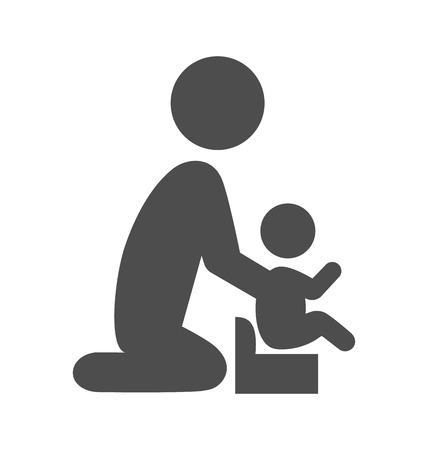 Parent potty baby pictogram flat icon isolated on white background Çizim