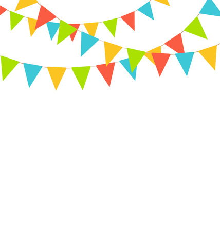 bunting flags: Multicolored bright buntings flags garlands isolated on white background