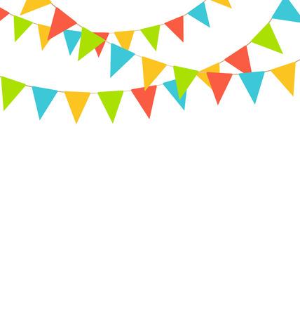 Multicolores vives drapeaux de bruants guirlandes isolé sur fond blanc