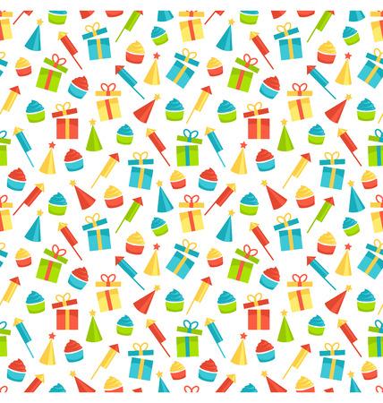 festive background: Seamless bright fun celebration festive pattern isolated on white background Illustration