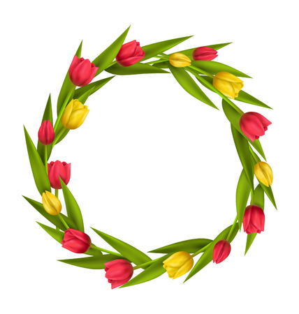 greet card: Circle frame with tulips red and yellow flowers isolated on white background