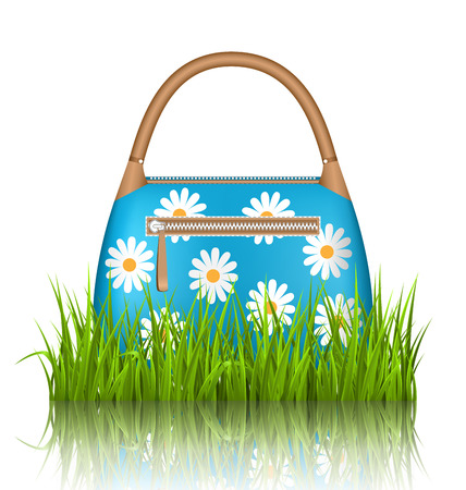 grass lawn: Blue woman spring bag with chamomiles flowers in grass lawn with reflection on white background
