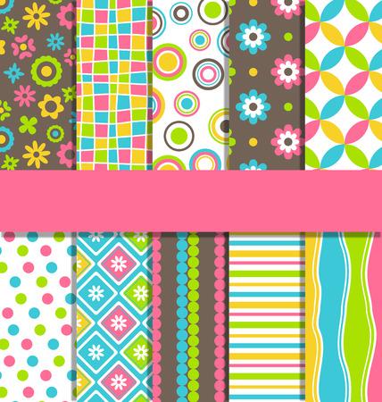 Set of ten 10 seamless bright fun abstract patterns Illustration