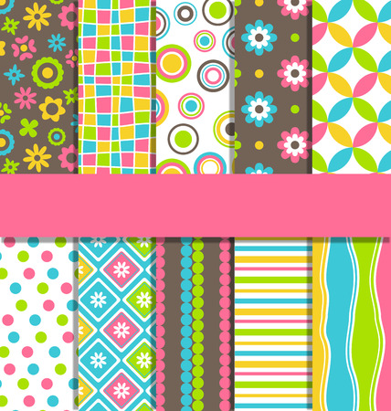 gift background: Set of ten 10 seamless bright fun abstract patterns Illustration