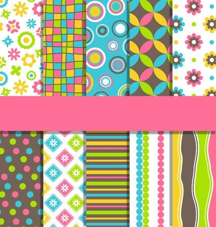 Set of 10 seamless bright fun abstract patterns Çizim