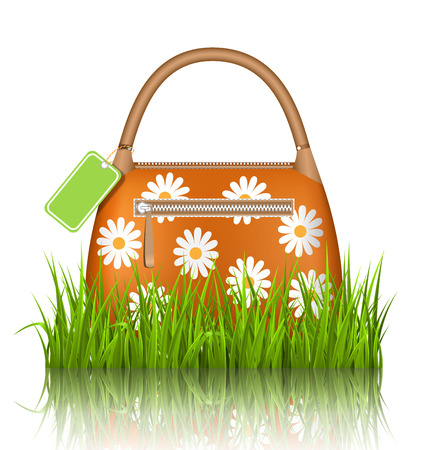 grass lawn: Orange woman spring bag with chamomiles flowers and sale label in grass lawn with reflection on white background