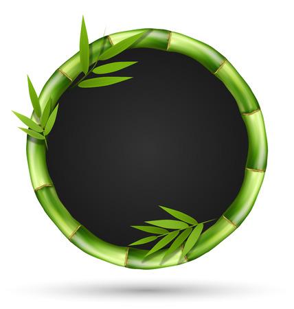 Bamboo gras cirkel frame met bladeren geïsoleerd op een witte achtergrond