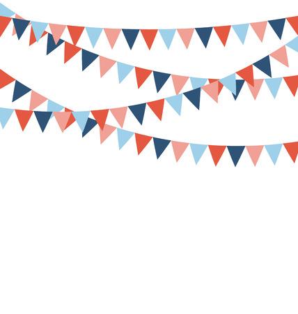 흰색 배경에 고립 된 여러 가지 빛깔의 밝은 플래 플래그 화환