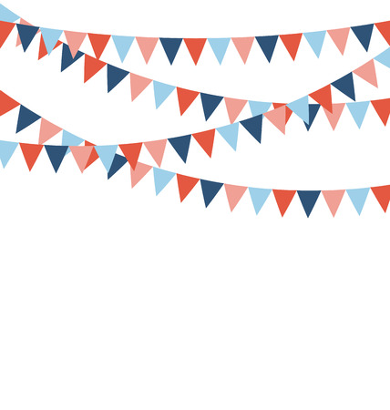greet card: Multicolored bright buntings flags garlands isolated on white background