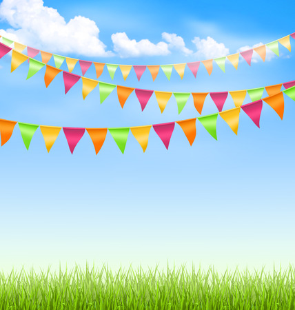 bunting flags: Green grass lawn with bright buntings clouds on blue sky