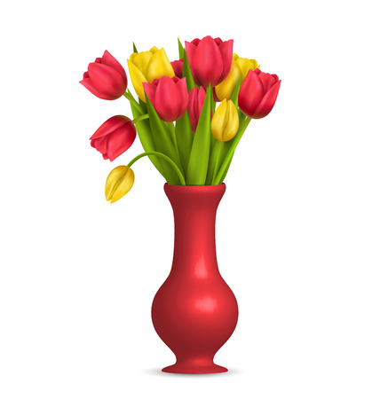 greet card: Tulips in vase isolated on white background