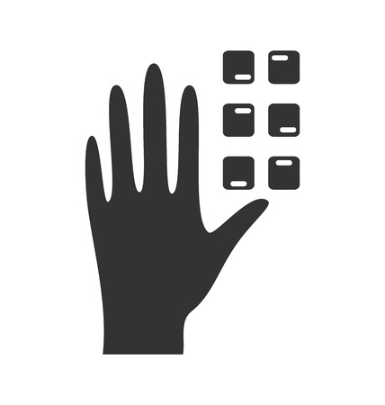 impairment: Disability pictogram braille flat icon hand isolated on white background Illustration