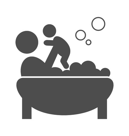 paternity: Parent takes a bath with the baby pictogram flat icon isolated on white background
