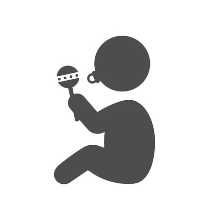 beanbag: Baby with beanbag and dummy pictogram flat icon isolated on white background Illustration