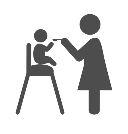 Mother feed the baby pictogram flat icon isolated on white background