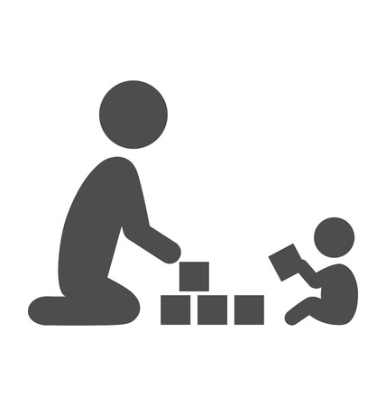 Parent plays with the baby pictogram flat icon isolated on white background