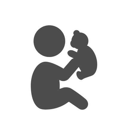 baby bear: Baby plays with teddy bear pictogram flat icon isolated on white background