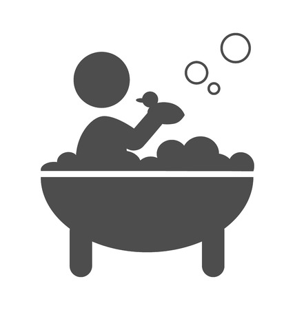Baby takes a bath with rubber duck pictogram flat icon isolated on white background
