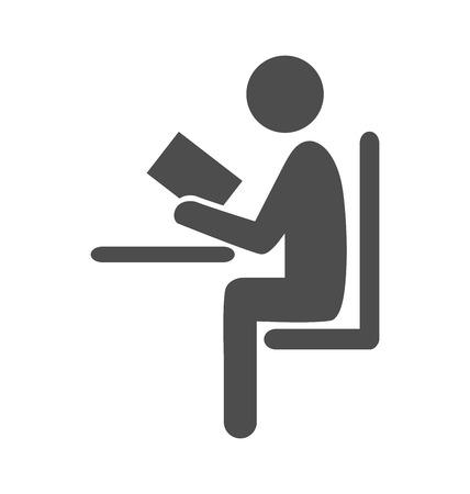 leggere libro: Leggi il libro uomo icona piatto pittogramma isolato su sfondo bianco