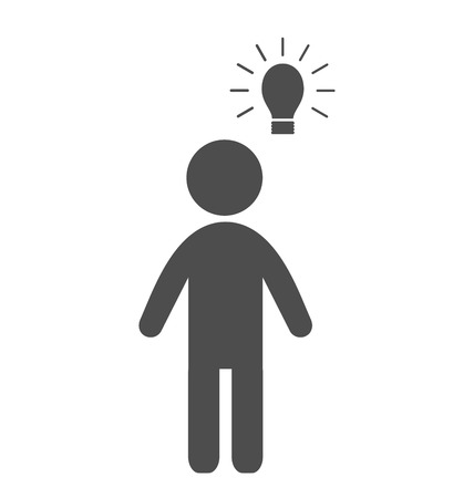 reprimand: Man with idea lamp flat icon pictogram isolated on white background