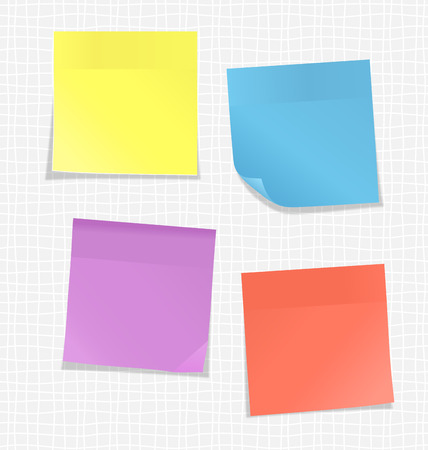 licking: Multicolored stickers for note on white background Illustration