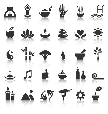 swimming candles: Spa yoga zen flat icons with reflection on white background