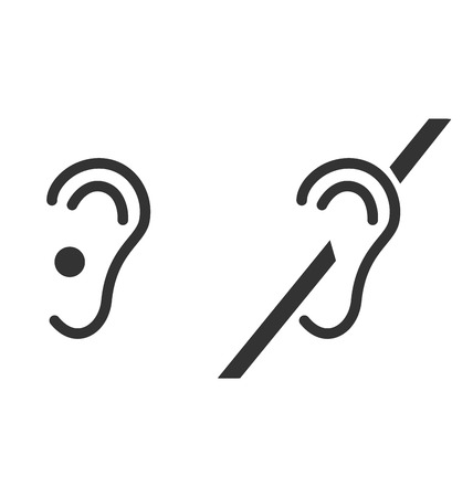 hearing aid: Disability pictogram flat icon mute isolated on white background
