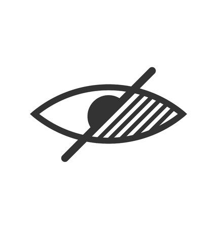 sensory: Disability pictogram blind flat icon hand isolated on white background