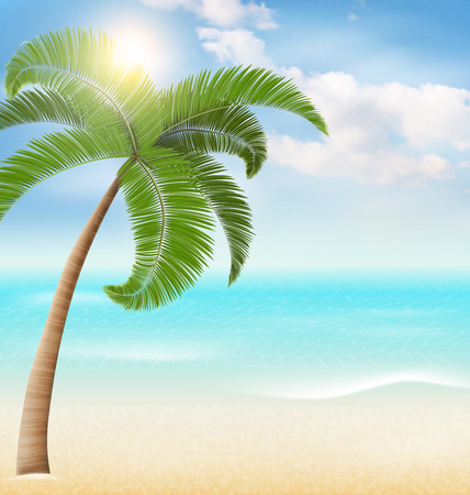 greet card: Beach with palm and clouds. Summer vacation sunny background