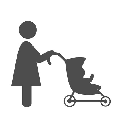 baby stroller: Mother with baby stroller pictogram flat icon isolated on white background Stock Photo
