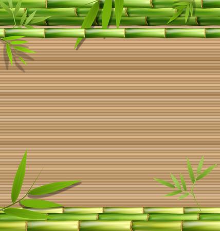 bamboo mat: Green bamboo grass on brown background