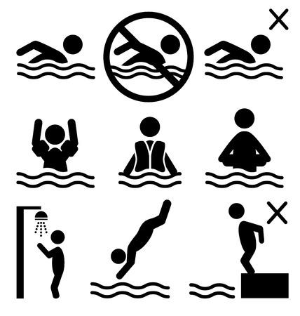 nadar: Conjunto de informaci�n sobre el agua de ba�o de verano icono pictograma personas planas aisladas sobre fondo blanco