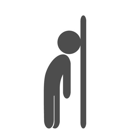 Fizzle out man flat icon pictogram isolated on white background Stock Photo