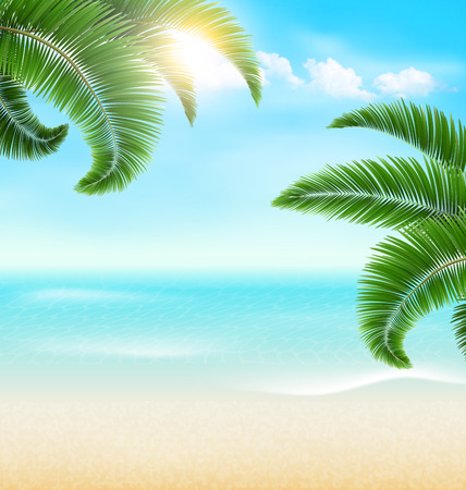 greet card: Beach with palm branches and clouds. Summer holiday vacation background