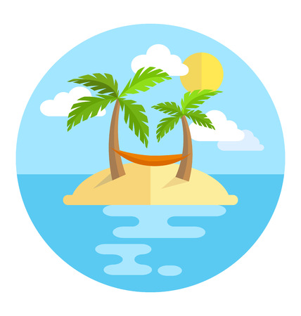 greet card: Summer vacation circle icon island with palms sun and hammock isolated on white background