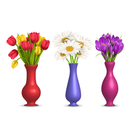 Flowers chamomiles tulips and crocuses in vases isolated on white Ilustração