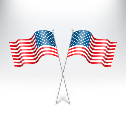 grayscale background: Wavy USA national flags on grayscale background Illustration