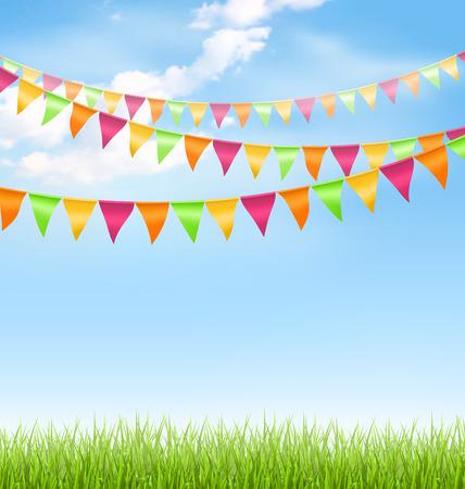 Groen gras gazon met heldere gorzen wolken op de blauwe hemel