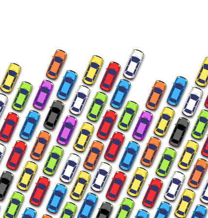 the traffic jam: Traffic jam on the road with cars isolated on white background