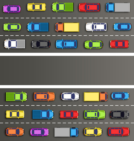 Traffic jam on the road with cars on gray background