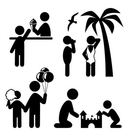 Summertime pictograms flat people icons isolated on white background Çizim
