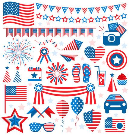 USA celebration flat national symbols set for independence day isolated on white background Çizim
