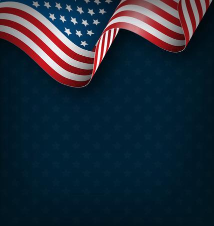 Wavy USA national flag on blue background
