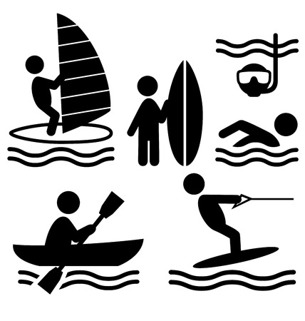 Summer water sport pictograms flat people icons isolated on white background