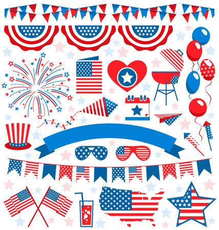 USA viering platte nationale symbolen instellen voor onafhankelijkheidsdag op een witte achtergrond