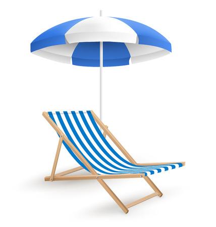 playa vacaciones: Sombrilla de playa con silla de playa aislada en el fondo blanco Vectores