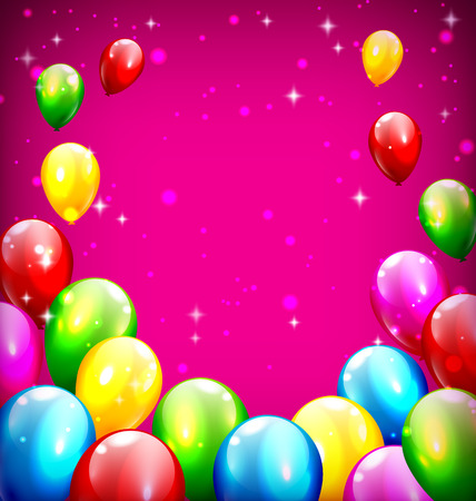 violet background: Palloncini multicolori celebrazione gonfiabili come cornice su sfondo viola Vettoriali