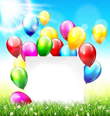 greet card: Celebration background with paper frame balloons grass lawn and sunlight on sky background Illustration
